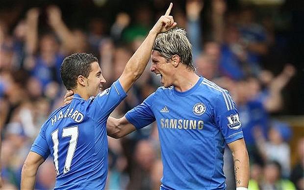 Eden Hazard celebrates his goal with Torres