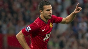 Robin Van Persie celebrates his first goal with Manchester United