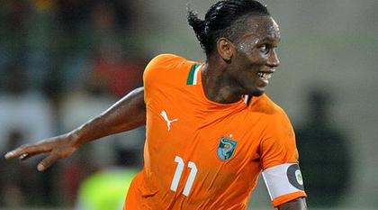 Drogba celebrates their win against Senegal