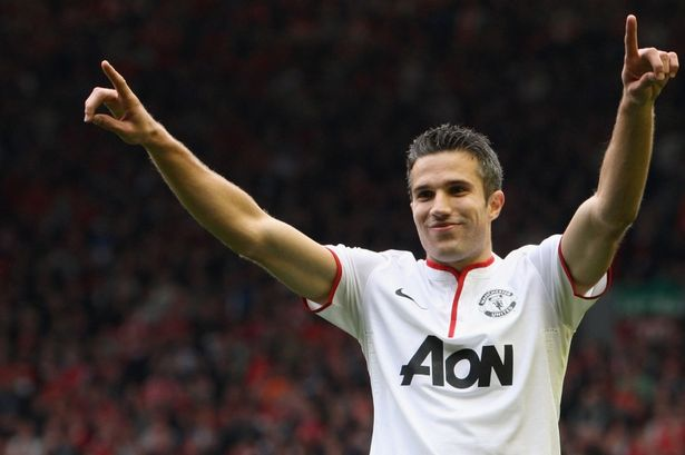 Robin van Persie celebrating his goal