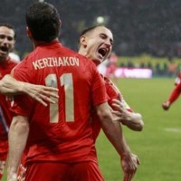 Alexander Kerzhakov scored the only goal to keep Russia top of Group F.