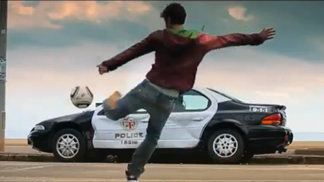 David Villa destroying a police car for a Need for Speed advert- the video has been censored