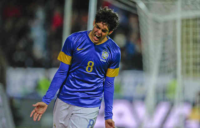 Kaka celebrates his goal against Iraq