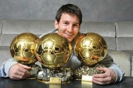 Messi with his 3 ballon d'Or