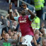 Mohamed Diame celebrates after scoring the first goal for West Ham