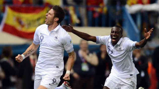 Olivier Giroud celebrates his last minute equalizer against Spain in Tuesday's World Cup qualifier-football