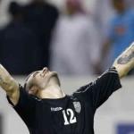 Uzbekistan celebrates their victory against Qatar