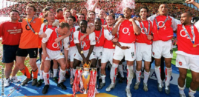 The Arsenal of Arsene Wenger went the whole season unbeaten in the very competitive English Premier league.  Henry, Ljungberg and Pires  and Vieira were the big names with Marc Overmars