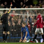 Torres is shown a red card in the fiercely contested Manchester United Chelsea clash