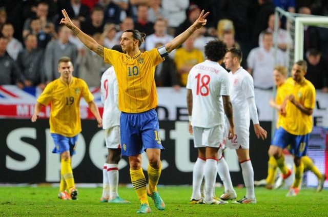 Zlatan Ibrahimovic netted all four goals as Sweden saw off an experimental England side 4-2 in Stockholm on Wednesday evening.