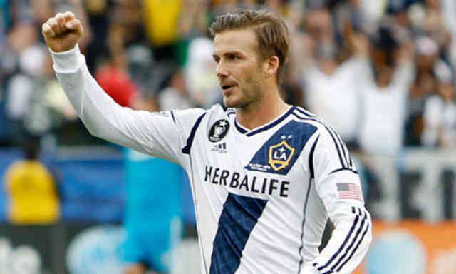 David Beckham says farewell to his team as they win the Major League