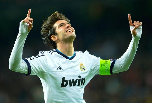 Kaka celebrates his goal in a 4-1 victory against Ajax yesterday