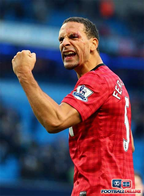 Rio celebrating the Manchester United win against City