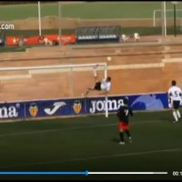 Amazing acrobatic save by a defender