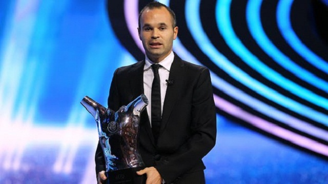 Andres Iniesta won the UEFA player of the year title earlier on this year and is a serious contender for the France Football Ballon d'Or 2012 awarded tonight