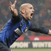 Cambiasso celebrates the second goal for Inter Milan as Torino to hold Inter at the San Siro