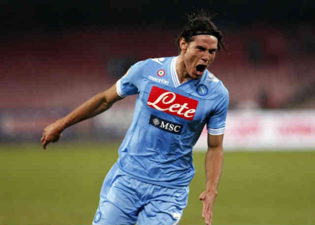 Edinson Cavani celebrating his goal, could be on his way to being one of the best strikers in the world
