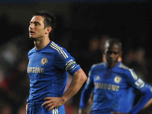 Frank Lampard shows signs of frustration with their match against Southampton as they were a two goal league and ended in a draw