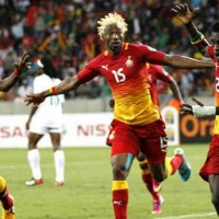 Ghana celebrate their massive victory bringing them to the kick out stage