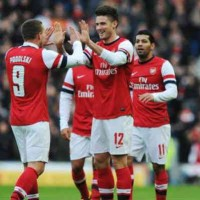 Giroud celebrates his two goals with the Gunners