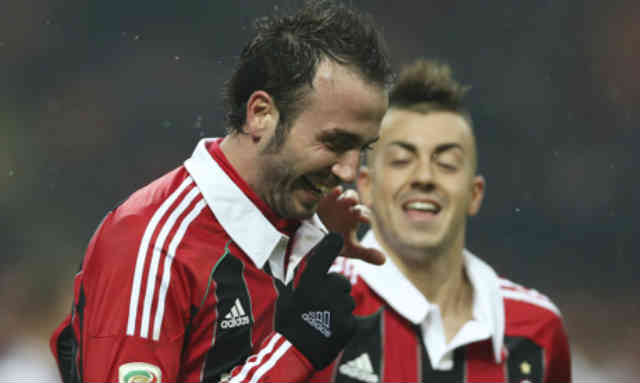 Pazzini celebrates his two goals against Bologna