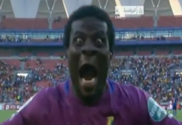 Abdul Dauda, goalkeeper of Ghana, celebrated the victory over Cape Verde like a monster  with a run straight at camera.