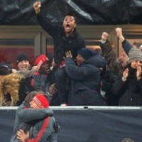 Balotelli and Robinho going mental after Milan's victory over Barcelona