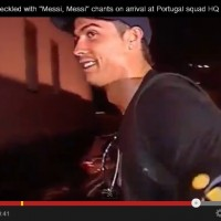 Cristiano Ronaldo heckled with 'Messi, Messi' chants as he arrives in Portugal