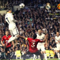 Cristiano Ronaldo scored with a spectacular header Wednesday as Real Madrid was held to a 1-1 home draw by Manchester United
