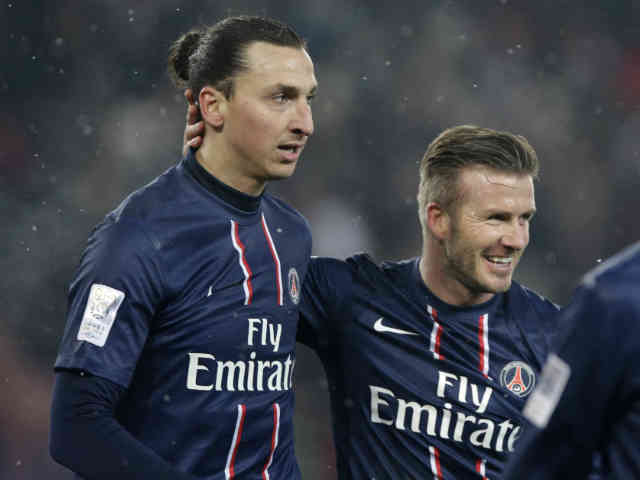 David Beckham makes tribute and celebrates with Ibrahimovic goal