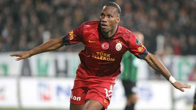 Didier Drogba celebrating his first goal for Galatasaray in the Turkish Super Lig