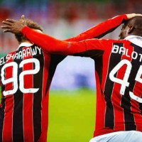 El Shaarway and Balotelli celebrate together with the goal of the Pharaoh