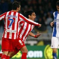 Falcao celebrates his goal agains Espanyol