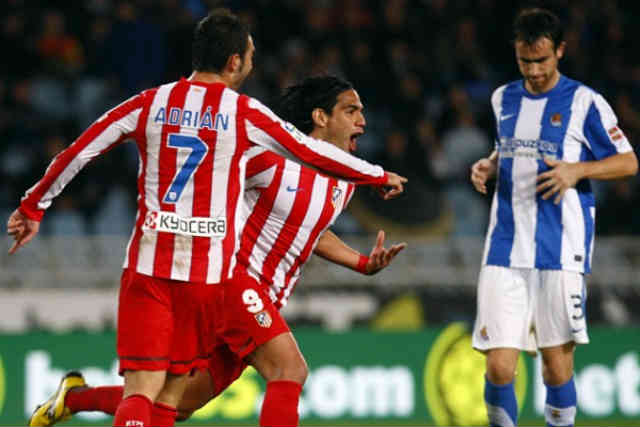 Falcao celebrates his goal agains Espanyol