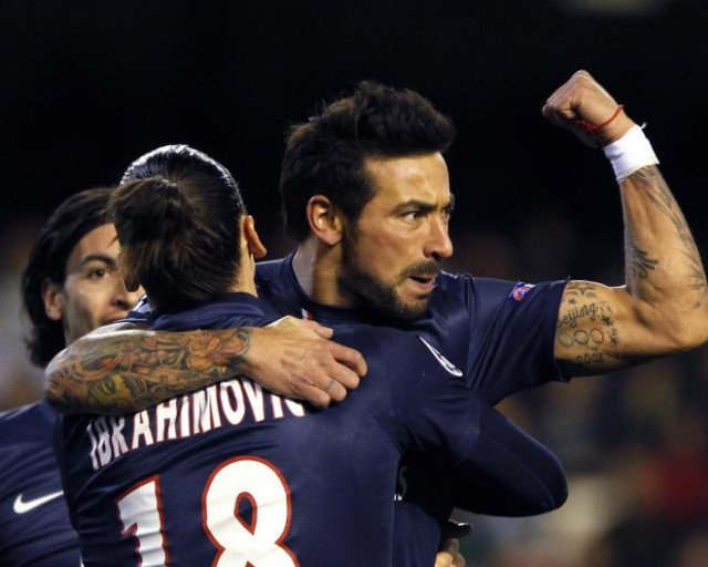 Goals by Ezequiel Lavezzi and Javier Pastore gave Paris Saint-Germain an important 2-1 away win at Valencia in a the first leg of their Champions League last-16 match Tuesday, which still ended badly for the French team as it allowed a late goal and had star striker Zlatan Ibrahimovic needlessly sent off in injury time.