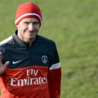 Paris Saint-Germain signing David Beckham joined up with his new teammates for the first time at training on Wednesday.