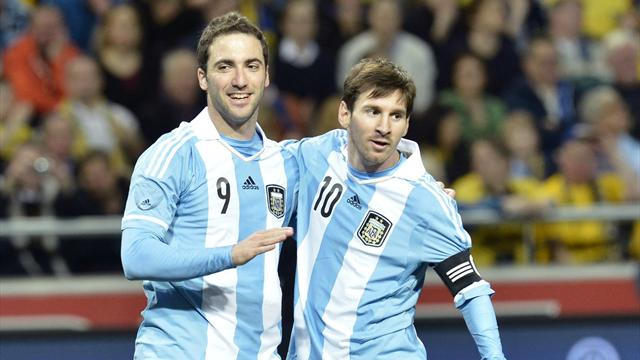 Sergio Aguero scored twice and Gonzalo Higuain was also on the score-sheet as Argentina defeated Sweden in a five goal thriller.
