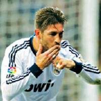Serigo Ramos celebrates his goal but found it silly why he got booked a red card in his match