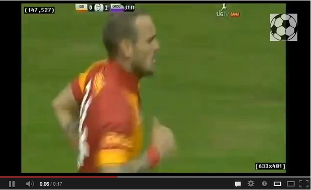 Sneijder amazing first goal for Galatasaray