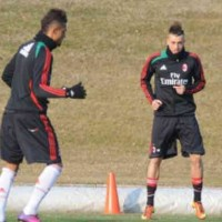 Stephan El Shaarawy shows his skill with the Ghanaian Boetang