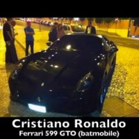 That's Cristiano Ronaldo's car-one of them- a ferrari 599 GTO, a true Batmobile
