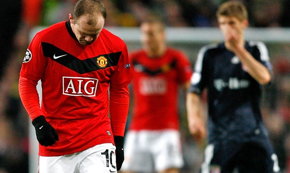 Manchester United's dejected Wayne Rooney