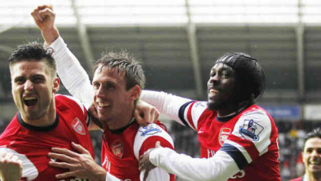 Arsenal celebrate their goal with joy