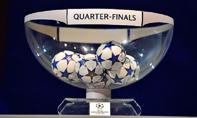 Barcelona will play David Beckham's Paris St-Germain in the quarter-finals of the Champions League after the sides were pulled out together in Friday morning's draw.