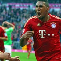 Boateng celebrates his goal as it wins Bayern the match
