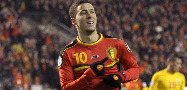 Chelsea's Eden Hazard finished off a classy solo move to give Belgium a 1-0 victory over Macedonia.