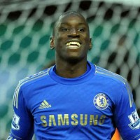 Demba Ba scores his goal with Chelsea and celebrates