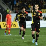 Eden Hazard celebrates his goal for his country