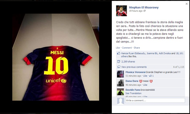 El Shaarawy denies reports of Messi not exchanging shirts on his official facebook page where he posted a photo of the shirt Messi gave him after the game