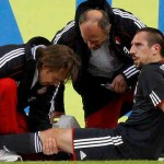 Franck Ribery with an injury on his left knee